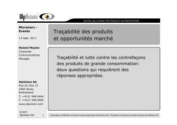 Traçabilité des produits et opportunités marché - Micronarc