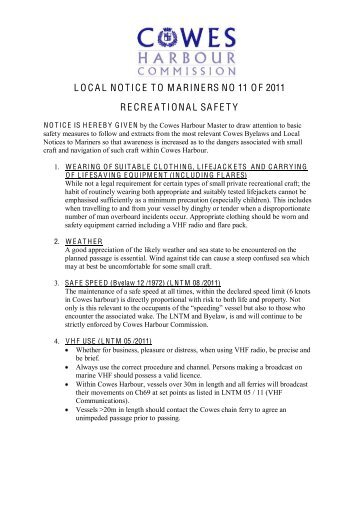 local notice to mariners no 11 of 2011 recreational ... - Cowes Online
