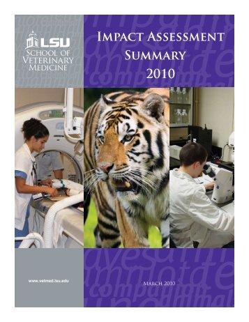 IMPAct ASSESSMENt SUMMARy 2010 - School of Veterinary ...
