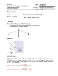 PHYS 222 Worksheet 29 Reflection and Refraction ANSWERS