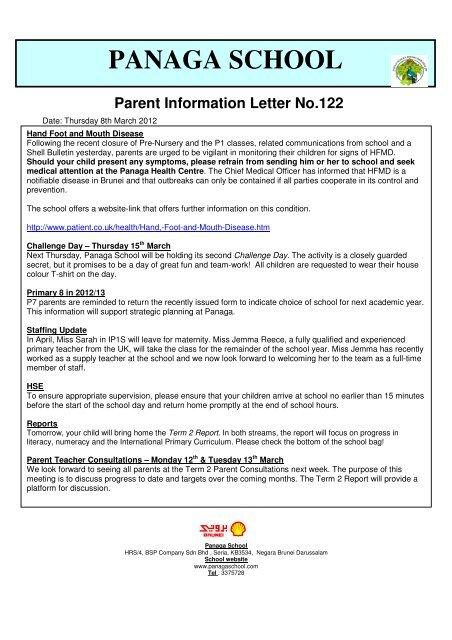 PANAGA SCHOOL Parent Information Letter No 122
