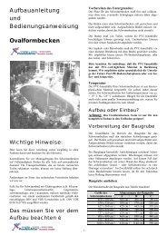 Aufbauanleitung Ovalbecken - Pool Doktor