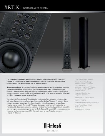 McIntosh XRT1K Loudspeaker Literature - TransTec