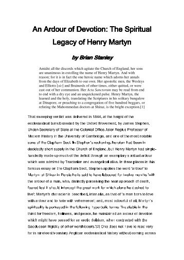 An Ardour of Devotion: The Spiritual Legacy of Henry Martyn Legacy ...