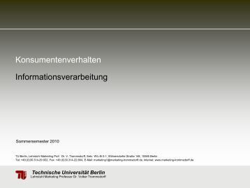 Konsumentenverhalten Informationsverarbeitung - TU Berlin