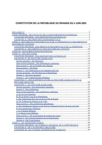 CONSTITUTION DE LA REPUBLIQUE DU RWANDA DU 4 JUIN 2003