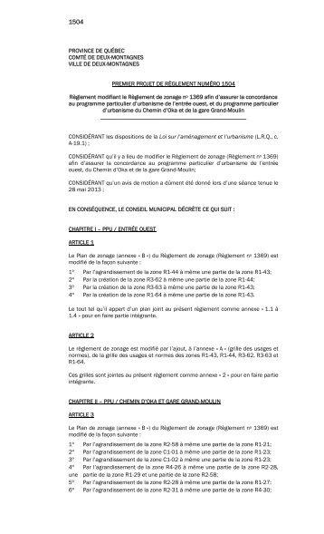 PROVINCE DE QUÉBEC COMTÉ DE DEUX-MONTAGNES VILLE ...