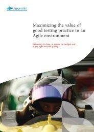Maximizing the value of good testing practice in an ... - Capgemini