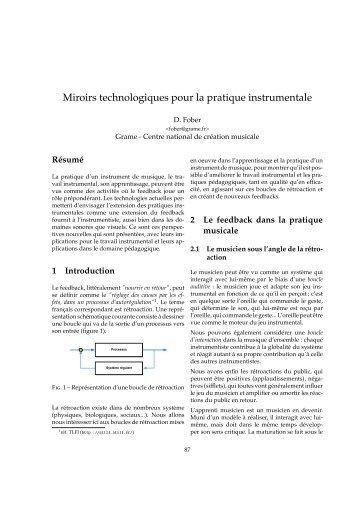 Miroirs technologiques pour la pratique instrumentale - Grame