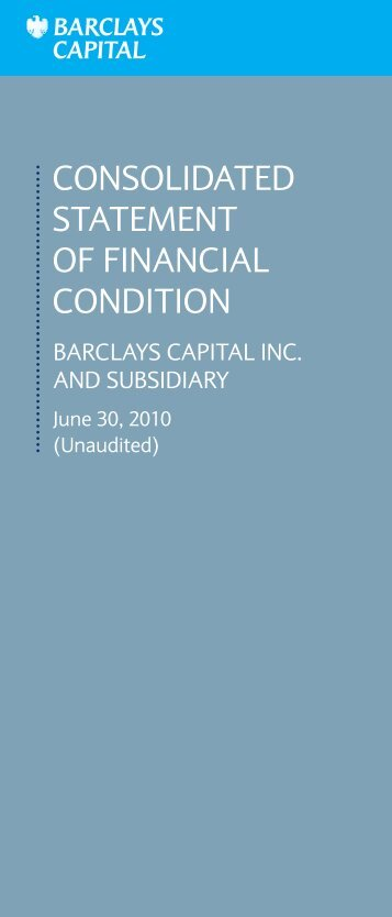 consolidated statement of financial condition - Barclays Capital