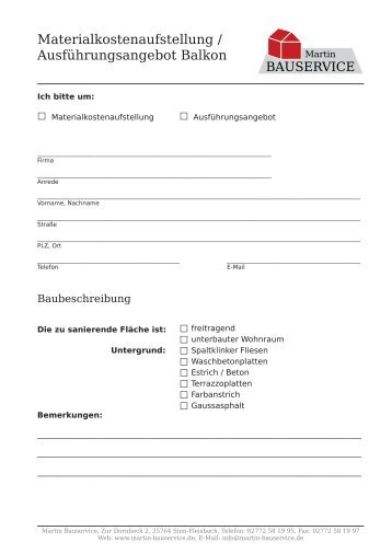 Angebotsanfrage als PDF zum Ausfüllen und ... - Martin Bauservice