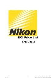 ROI Price List - Nikon UK