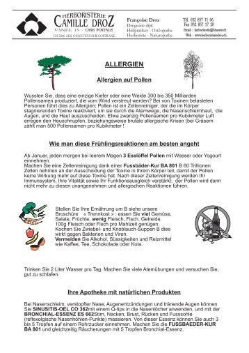DIE ALLERGIEN - 8 - Herboristerie Camille Droz