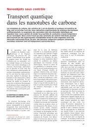 Transport quantique dans les nanotubes de carbone - CNRS