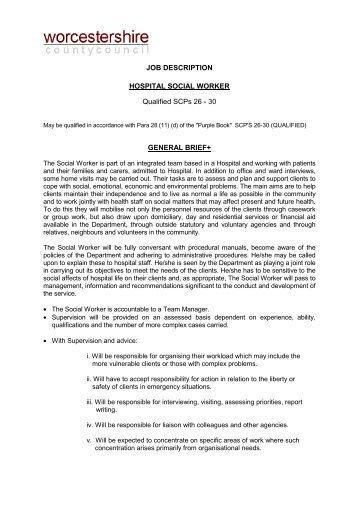 JOB DESCRIPTION Social Worker Directorate and Social Services ...