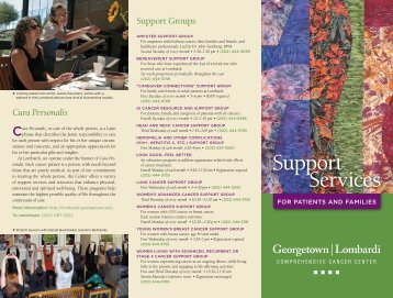 Support Services for Patients and Families - Lombardi Cancer Center