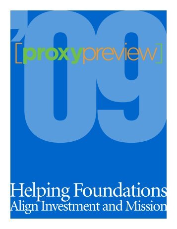 Proxy Preview. In 2009 - Rockefeller Philanthropy Advisors