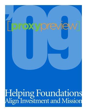 Proxy Preview. In 2009 - Rockefeller Philanthropy Advisors