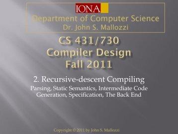 2. Recursive-descent Compiling
