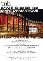 ÉCOLE SUPÉRIEURE D'ART DRAMATIQUE - TNB