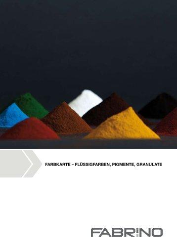 Farbkarte für Pigmente, Flüssigfarben, Granulate - fabrino