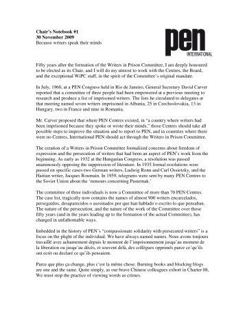 Writers in Prison Committee chair's notebook 1 - PEN International
