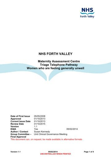 Women who are feeling generally unwell - NHS Forth Valley