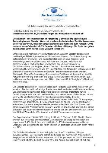 58. Jahrestagung der österreichischen ... - Die Textilindustrie
