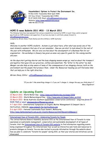 Bulletin No 3 - 13 March 2011 - Hope