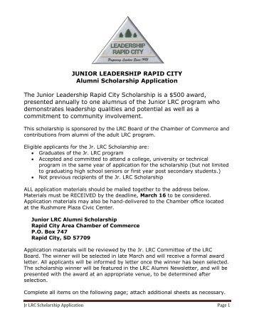 junior leadership rapid city alumni scholarship application