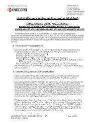 Limited Warranty for Kyocera Photovoltaic ... - KYOCERA Solar