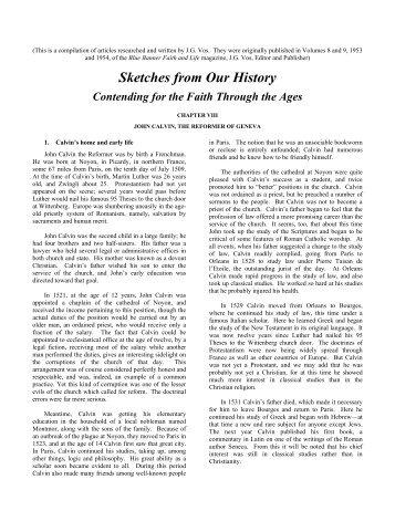 Life of John Calvin: Seven Articles - Reformed Presbyterian ...