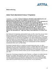 Astra Tech übernimmt Cresco Ti Systems