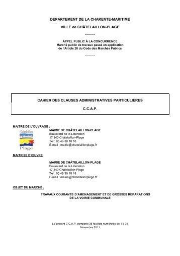 3 - CCAP - Marché Voirie 2012 - 2015 - Châtelaillon-Plage Tourisme