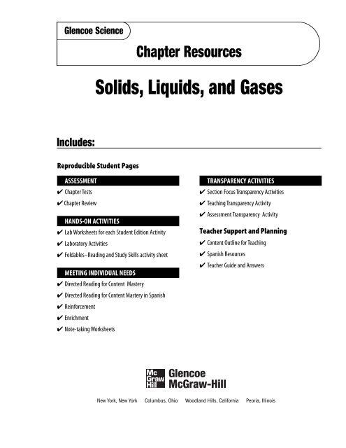 Chapter 16 Resource: Solids, Liquids, and Gases - Garden