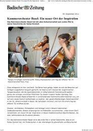 Badischer Zeitung vom 05 09 2011 - Kammerorchester Basel