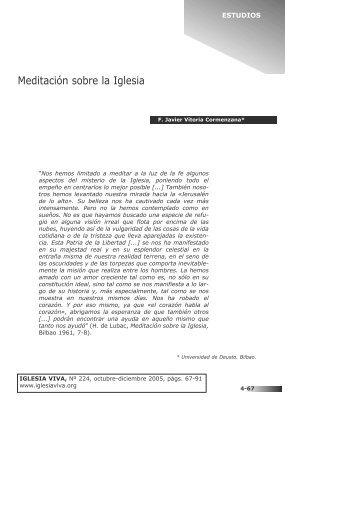 Meditación sobre la Iglesia. Javier Vitoria Cormenzana - Iglesia Viva