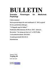 Bulletin nr 1, 2013 - Svenska Föreningen för Medicinsk Psykologi