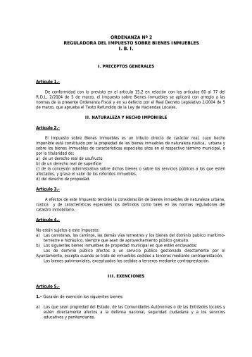 ordenanza nº 2 reguladora del impuesto sobre bienes inmuebles ibi