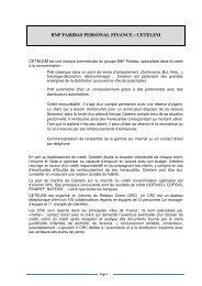 BNP PARIBAS PERSONAL FINANCE : CETELEM - Cerpet