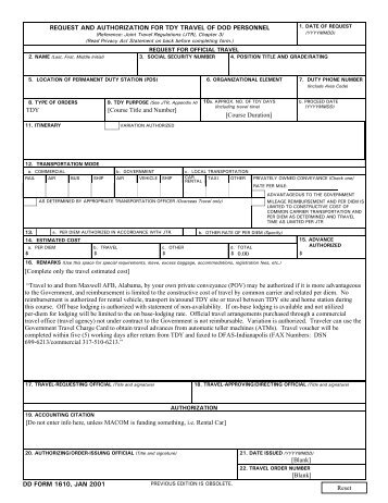 Form  Request And Authorization For Tdy Travel Of Dod