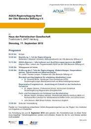 Programm AQUA Informationsveranstaltung in Lüneburg