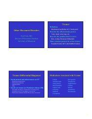 Other Movement Disorders Tremor Tremor Differential Diagnoses