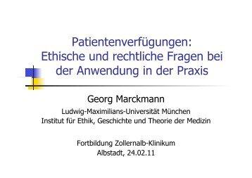 Patientenverfügungen - Institut für Ethik, Geschichte und Theorie der ...