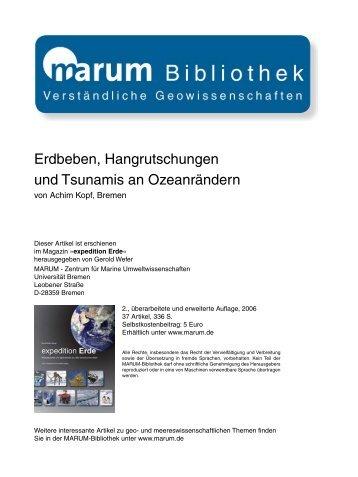 Erdbeben, Hangrutschungen und Tsunamis an ... - Marum