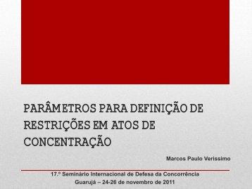 PARÂMETROS PARA DEFINIÇÃO DE RESTRIÇÕES EM ... - Ibrac