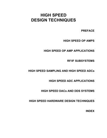 HIGH SPEED DESIGN TECHNIQUES
