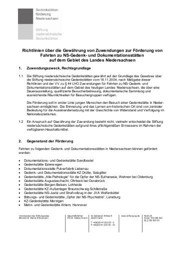 Richtlinien über die Gewährung von Zuwendungen zur Förderung ...