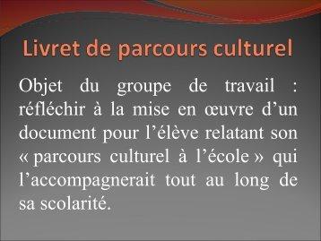 Livret de parcours culturel - IEN Sannois