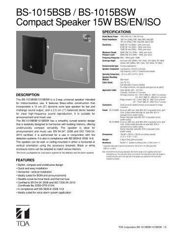 BS-1015BSB / BS-1015BSW Compact Speaker 15W BS/EN ... - Eltek